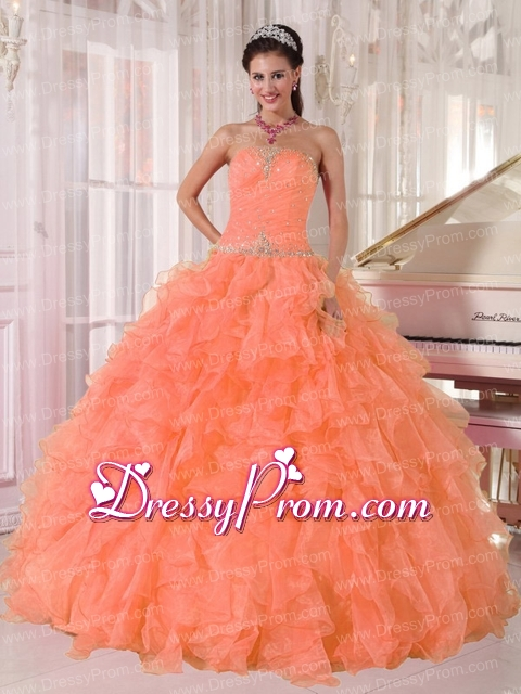Orange Ball Gown Strapless Organza Beautiful Quinceanera Dress ...