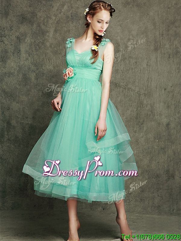 See Through Straps Prom Dress with Appliques and Hand Made Flowers
