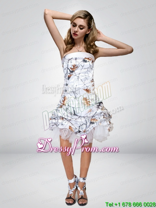 2015 Spring Short Strapless Knee Length Camo Prom Dresses