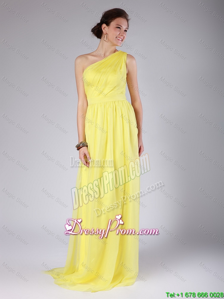 One Shoulder Sashes Yellow Prom Dresses with Sweep Train for 2016