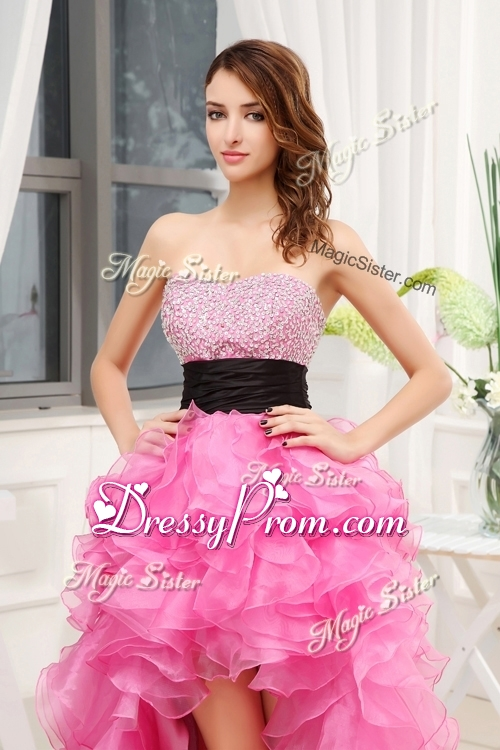 2016 Cheap Sweetheart High-low Pink Prom Dresses with Beading and Belt