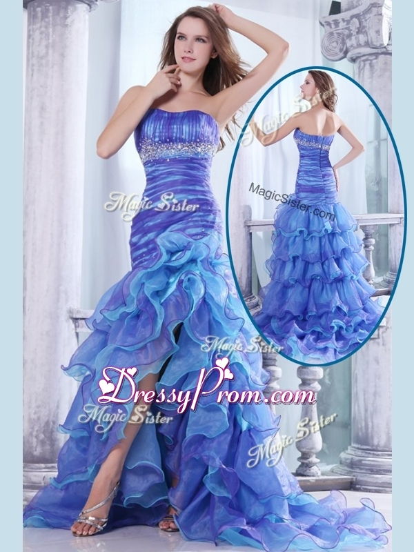 Hot Sale Column Sweetheart High Low Beading and Ruffled Layers Simple Prom Dresses