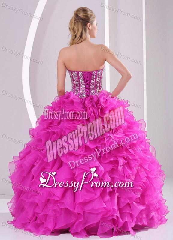 c9f850cfd57 Product Name  Pretty Sweetheart Ruffles and Beaded Decorate 2014 Hot Pink  Quinceanera Gowns