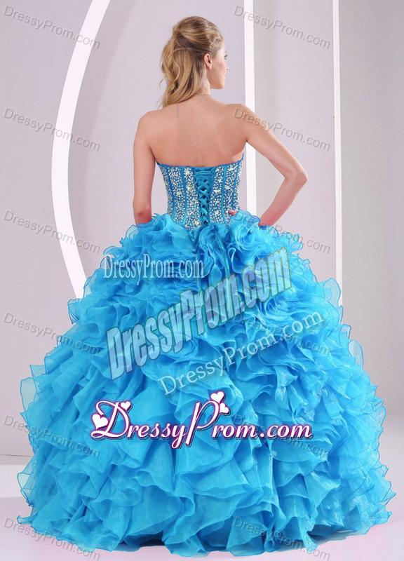 Teal Sweetheart Organza 2014 Quinceanera Gowns with Fitted Waist