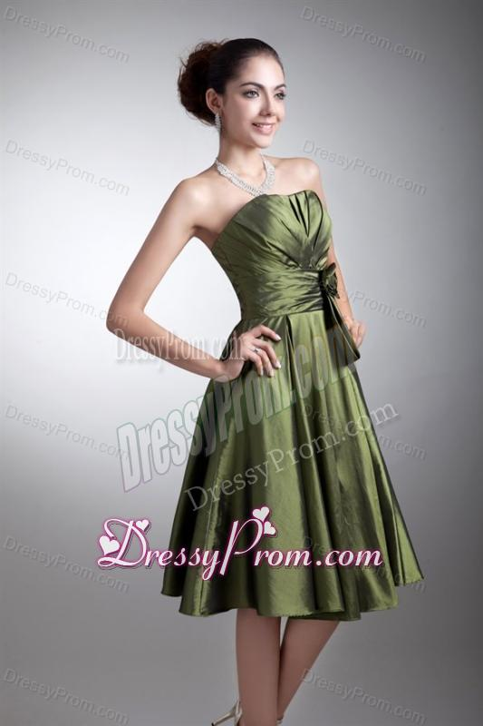 Green Column Sweetheart Knee-length Ruching Prom Dress