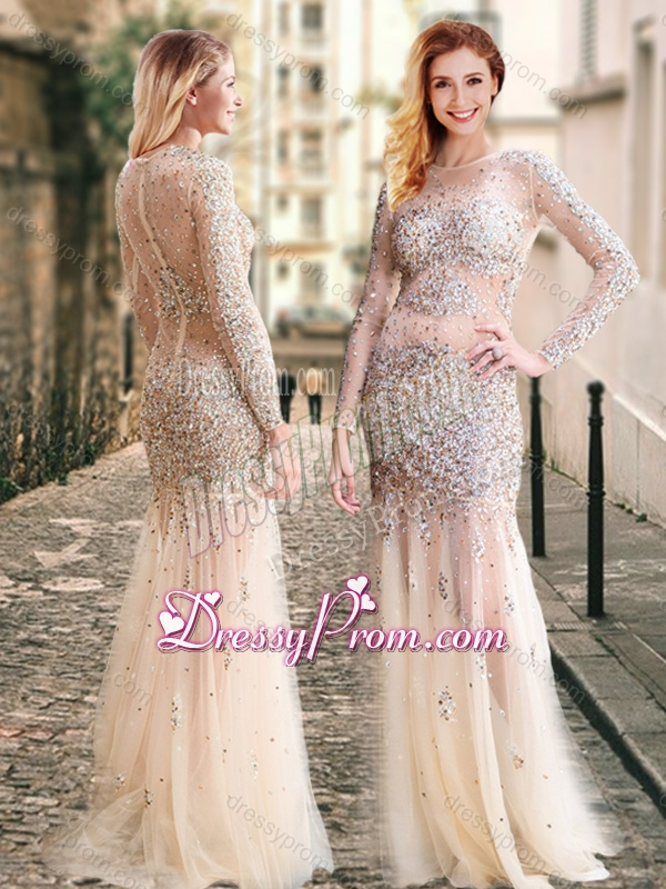 Champagne colored prom dresses long