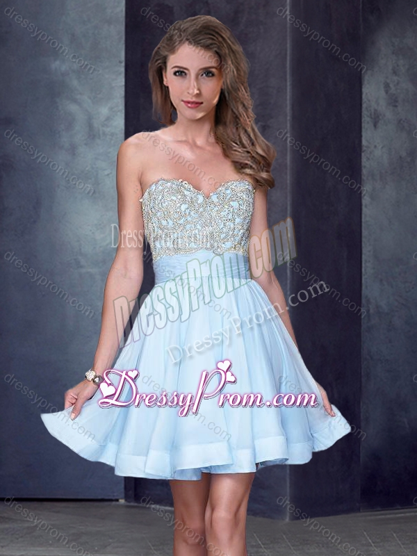 0a1d54878e5 2016 New Style Beaded Sweetheart Short Quinceanera Dama Dresses in Light  Blue