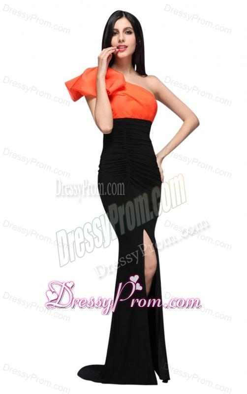 black and orange one shoulder column high silt prom dress