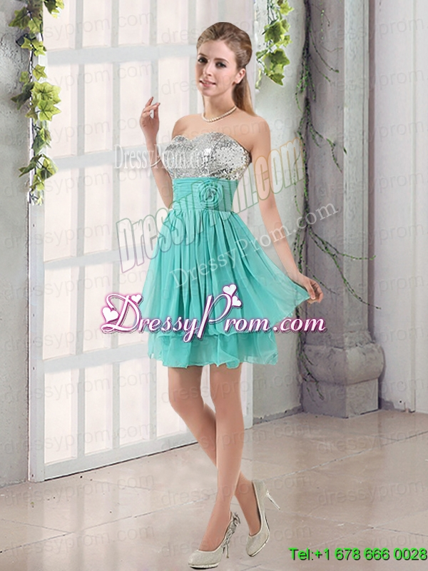 2015 Sweetheart A Line Prom Dresses with Sequins and Hand Made Flowers