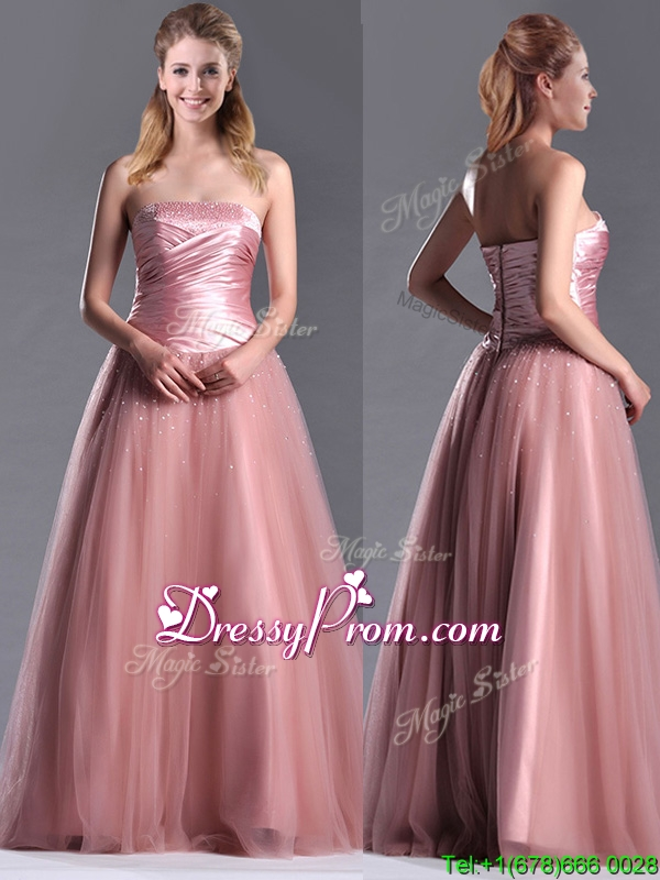 Elegant A Line Tulle Beaded Long Christmas Party Dress in Peach