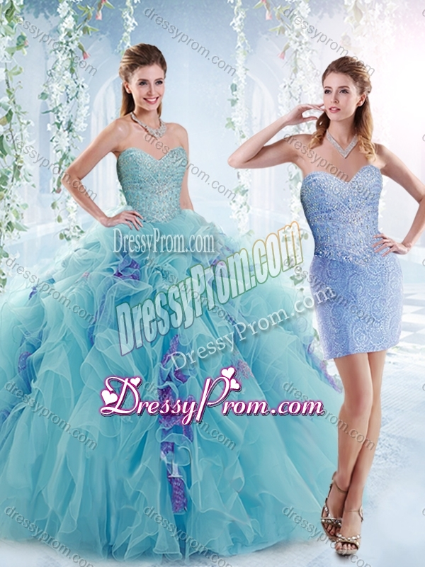 20a5acf8394 2016 Cheap Beaded Bodice and Ruffled Quinceanera Dresses in Aquamarine