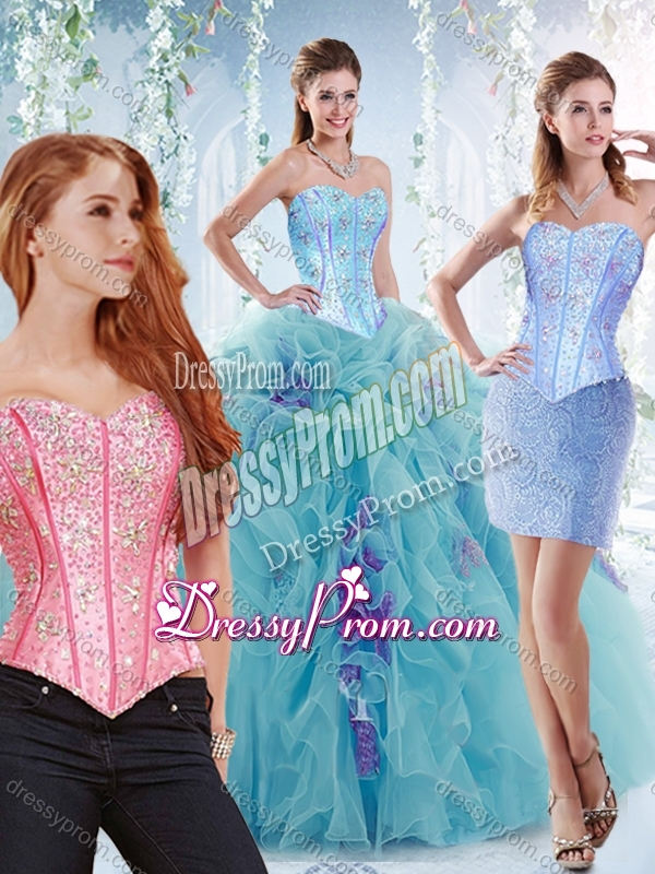 0441dccbf72 Latest Visible Boning Big Puffy Detachable Quinceanera Dresses in Aquamarine