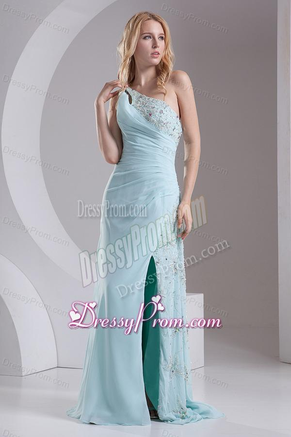 One Shoulder Chiffon Beading High Slit Prom Dress in Light Blue