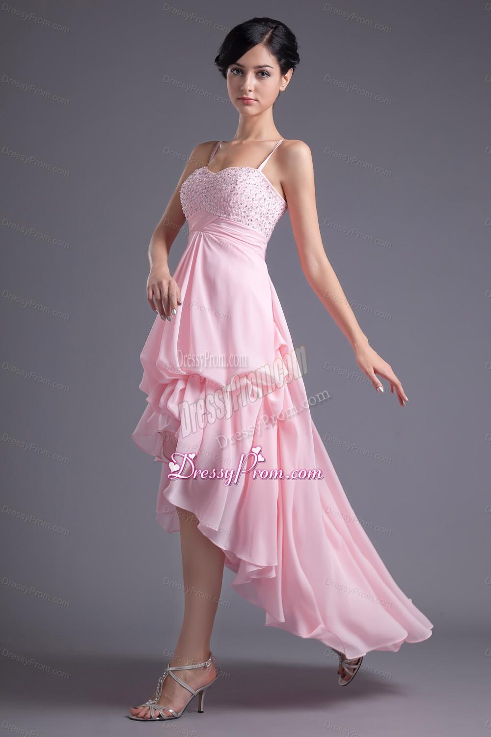A line Baby Pink Sweetheart Beading Chiffon High low Prom
