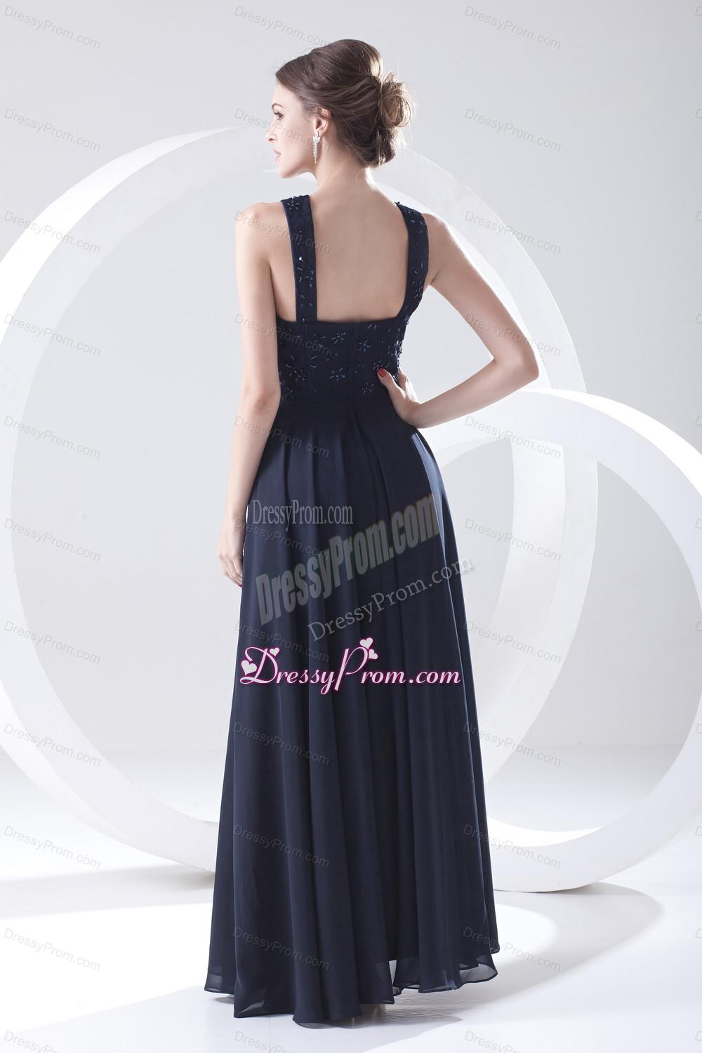 2014 navy blue prom dress with lace bateau black empire