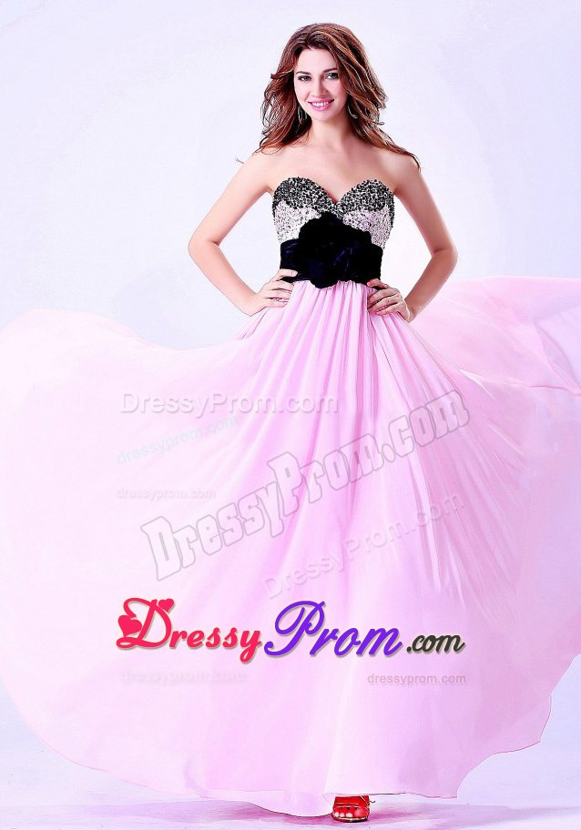 Fabulous Flowers Beaded Long Pink and Black Prom Dresses