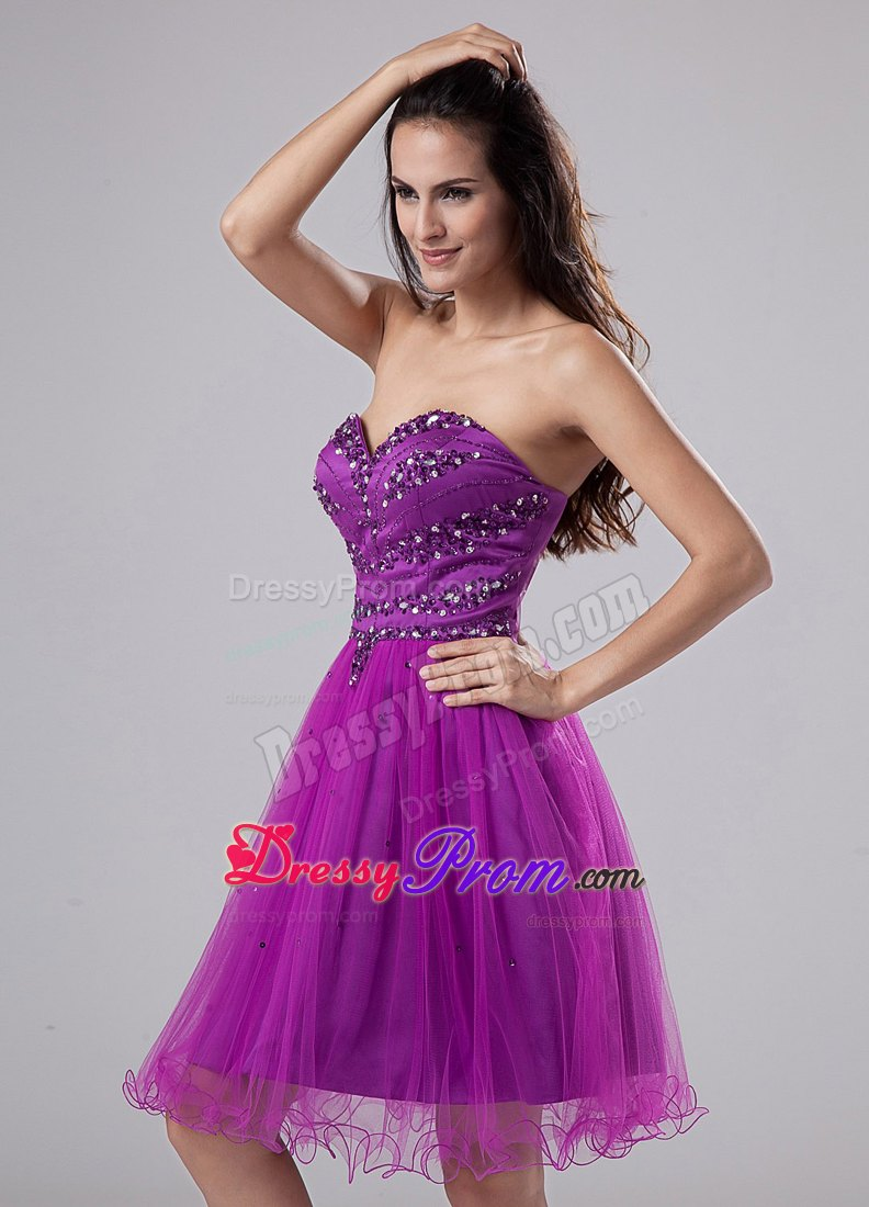Girly Knee Length Sweetheart Fuchsia Prom Dress With Beading