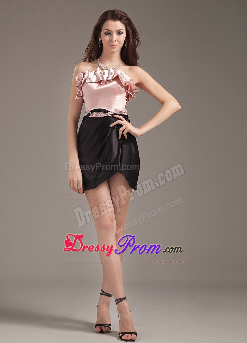 Pink And Black Prom Dresses,Pink And Black Quinceanera Dresses