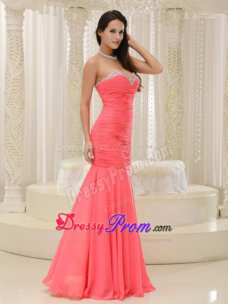 Sweetheart Beaded Ruched Prom Dress in Coral Red