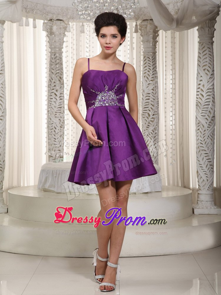 Los Angeles CA Spaghetti Straps Beaded Purple Prom Theme Dress