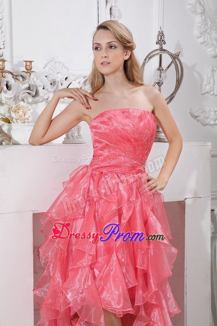 2014 watermelon red asymmetrical highlow prom dress ruffled