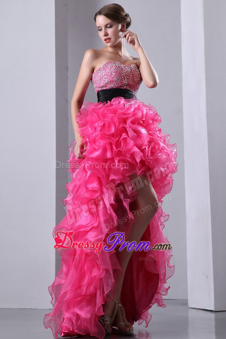 with Slit Hot Pink Ruffled Layers Prom Dress with Sash