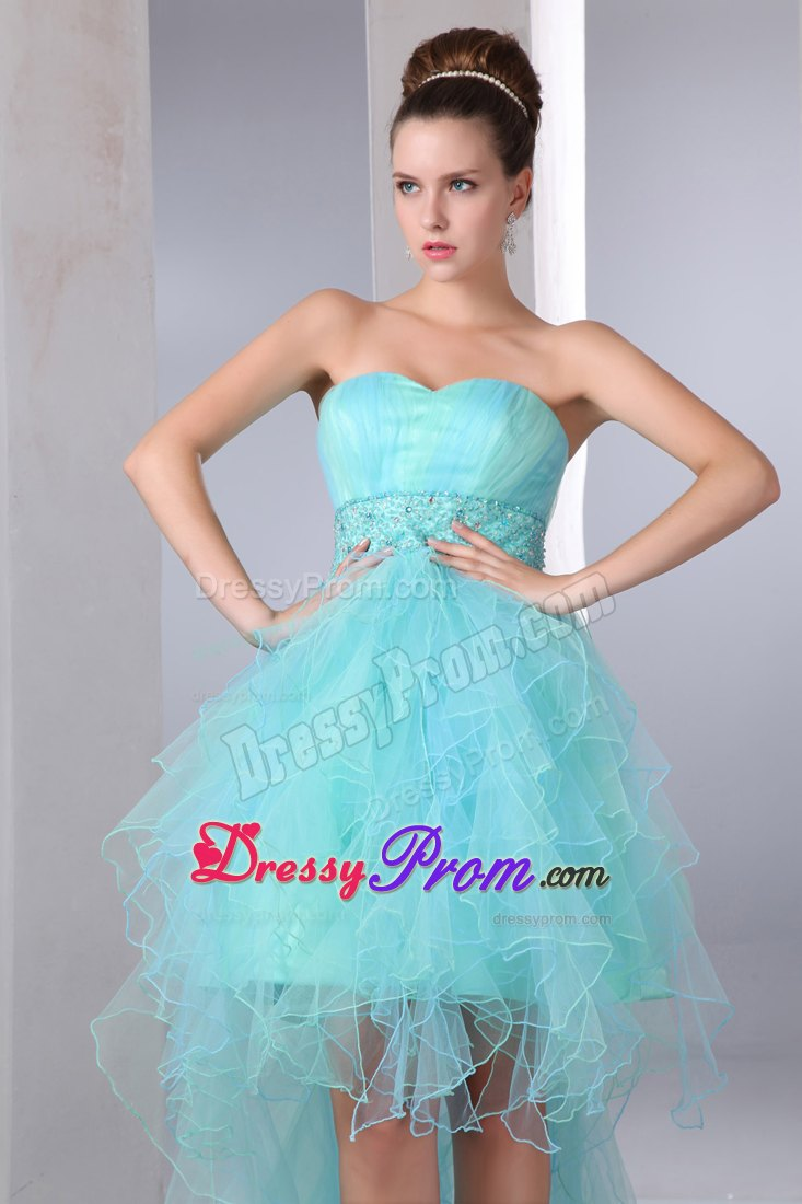 Inexpensive Aqua Blue Sweetheart Prom Dress Asymmetrical Beaded