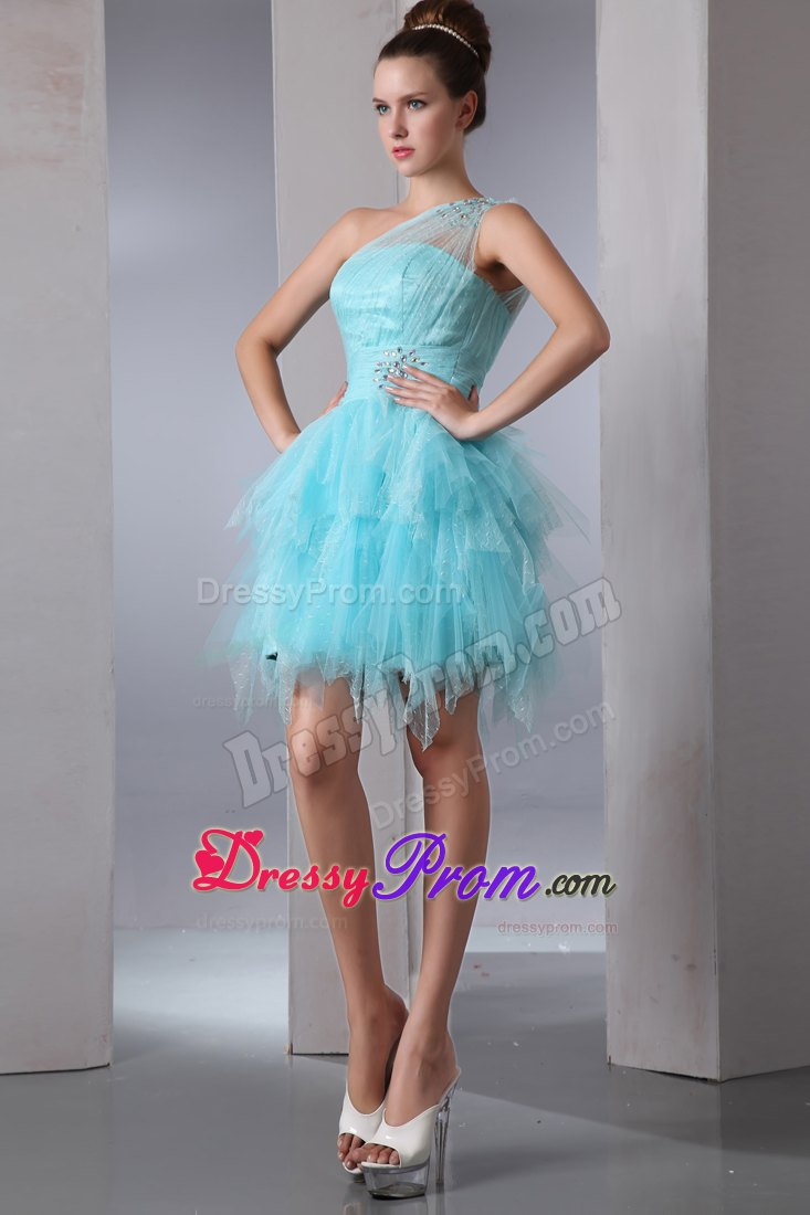 Beaded One Shoulder Ruffles Prom Theme Dress in Aqua Blue 2014