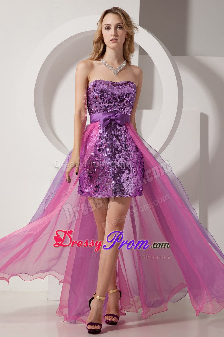Purple and Pink Banded Waist Prom Dress High-low 2014