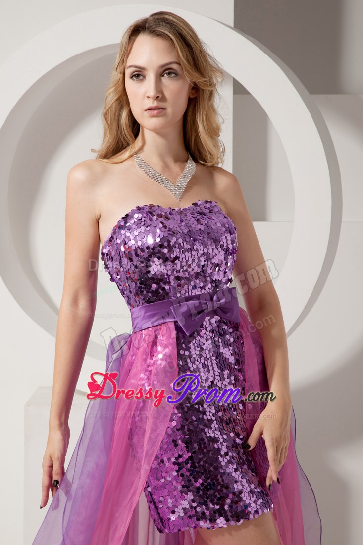 and Pink Banded Waist Prom Dress High-low 2014