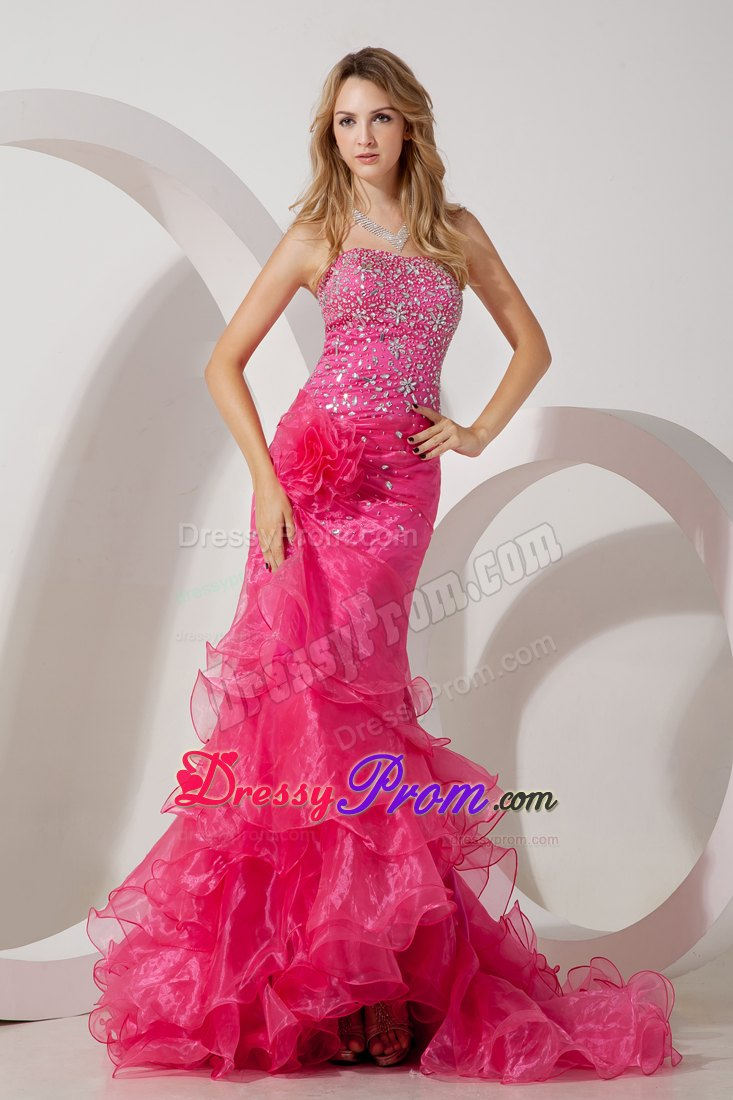 Hot Pink Mermaid Brush Ruffles Prom Evening Dress Beaded