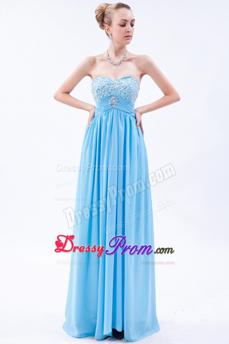 Sweetheart Floor Length Chiffon Prom Theme Dress in Baby Blue