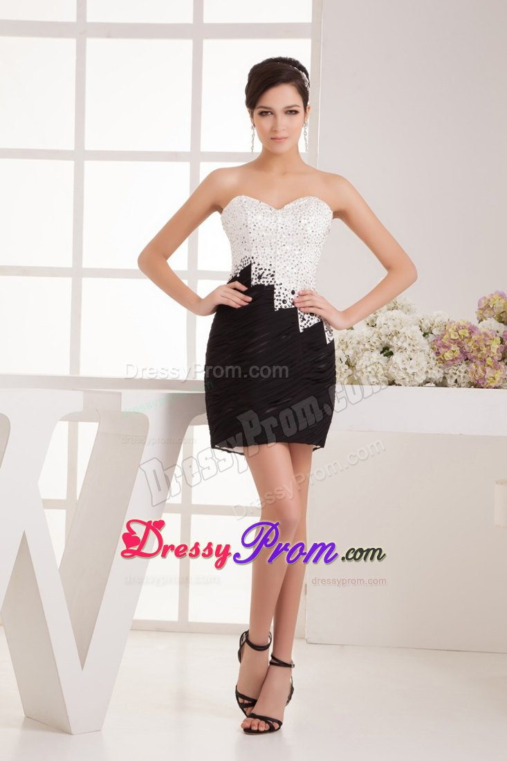 and Beaded White and Black Sweetheart Prom Cocktail Dress