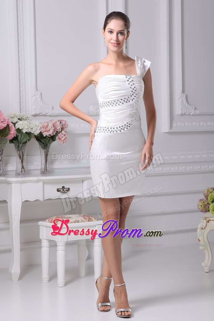 Short Prom Dress with Beading and Ruching in Cream Colored