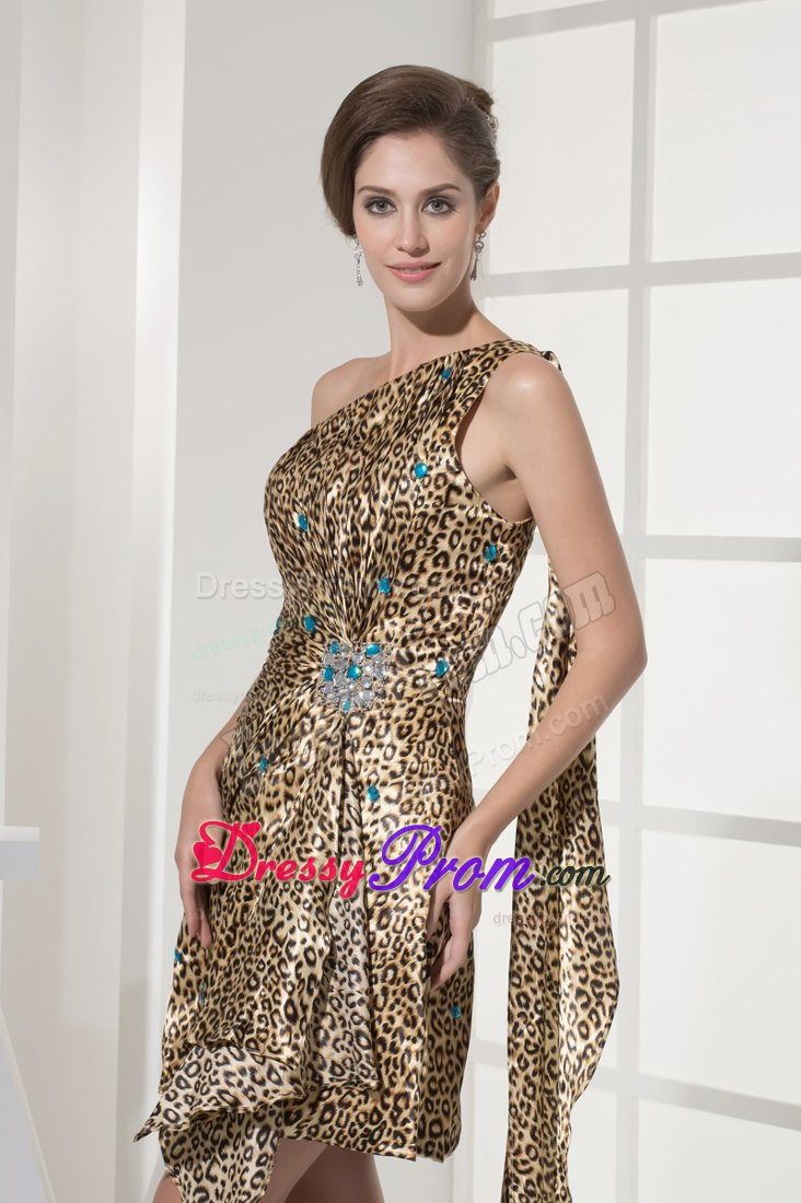 Beading Accent One Shoulder Animal Print Prom Cocktail Dresses