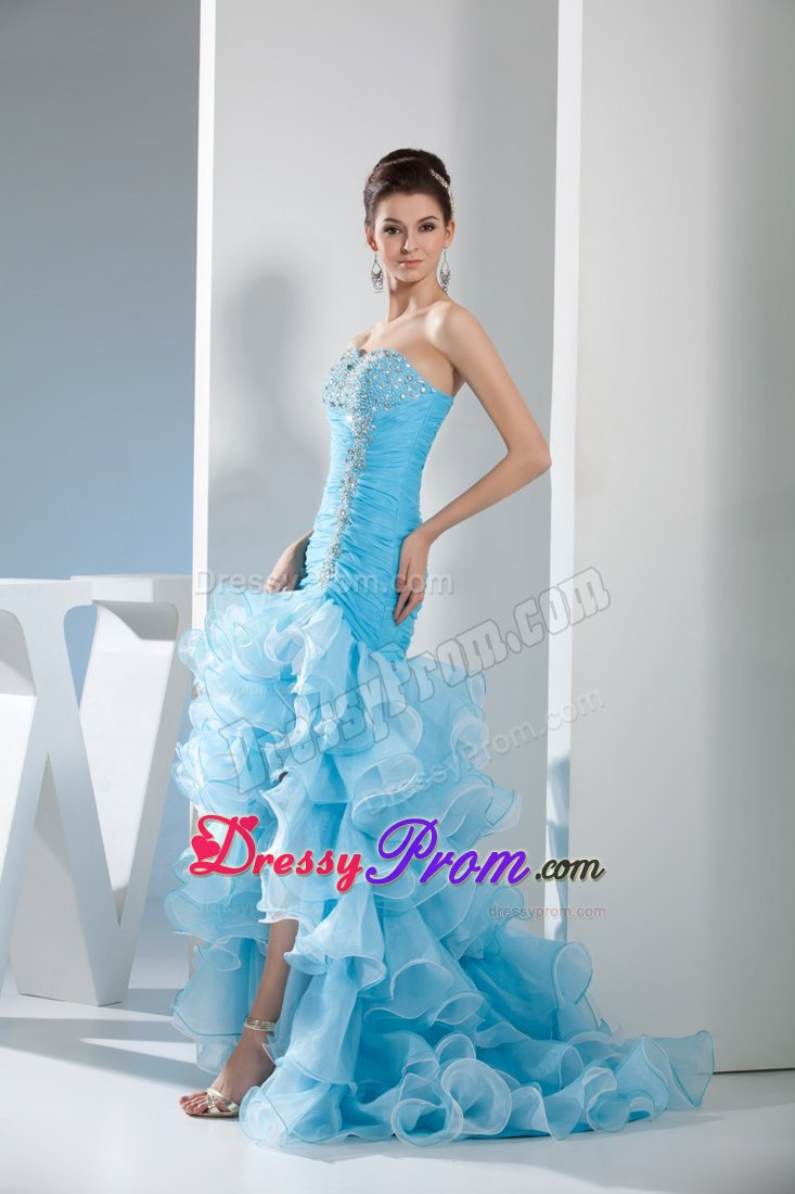 Blue Mermaid Prom Dress for 2013 with Beading and Ruffles