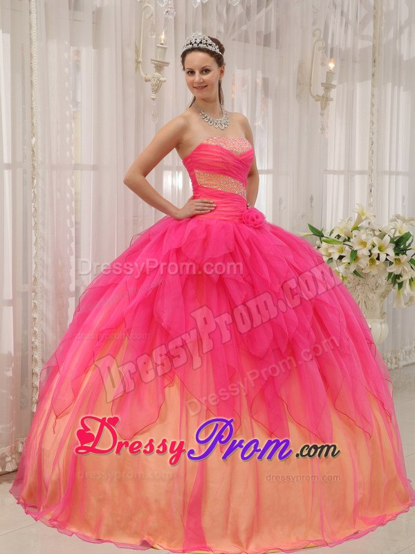 Hot Pink Ball Gown Strapless Organza Quinceanera Dress