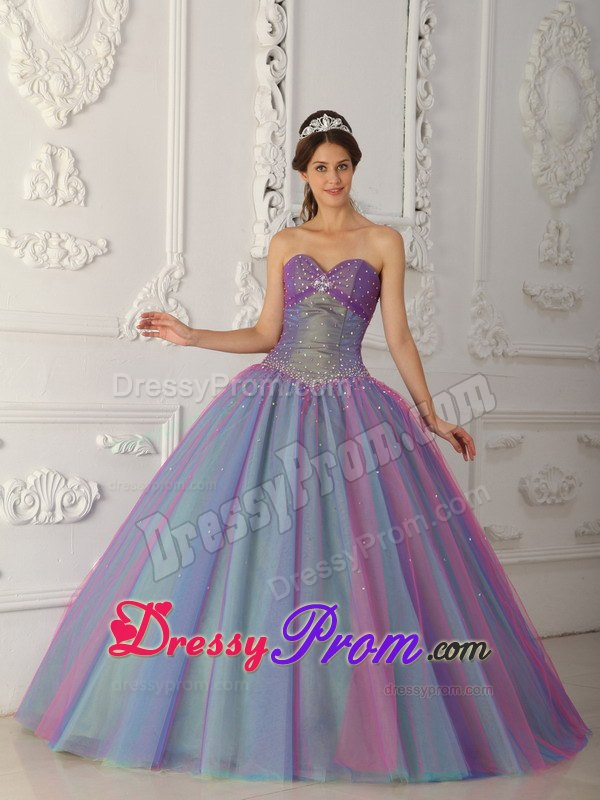 Sweetheart Ball Gown Tulle Beading Quinceanera Dress in Multi -color