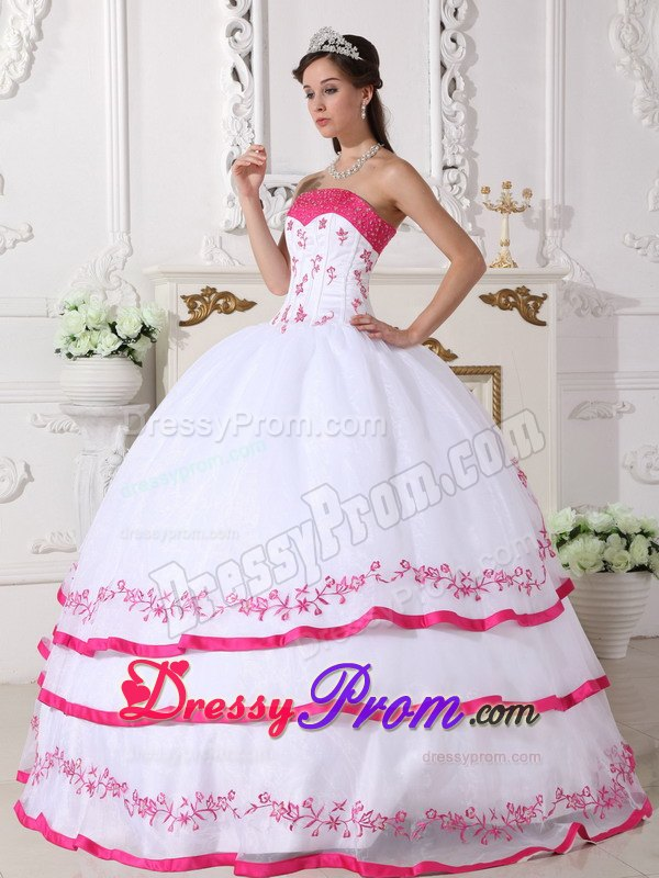 White and Hot Pink Quinceanera Dress with Beading and EmbroideryQuinceanera Dresses 2014 Pink And White