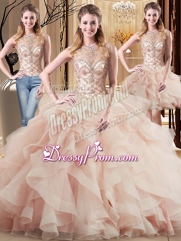 Suitable Peach Sleeveless Tulle Brush Train Lace Up Sweet 16 Quinceanera Dress for Military Ball and Sweet 16 and Quinceanera