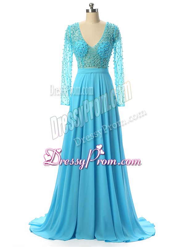 Popular V-neck Long Sleeves Brush Train Zipper Prom Evening Gown Baby Blue Chiffon
