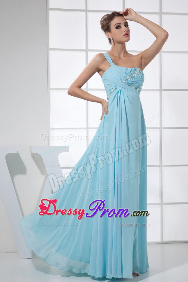 Shoulder Beaded Ruche light Blue Prom Dress in Strasbourg