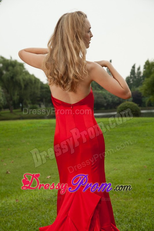 Court Train Mermaid Sweetheart Red Dress for Prom Princess