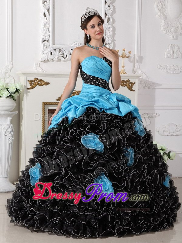 Beading and Rolling Flowers Quinceanera Dress in Blue and Black