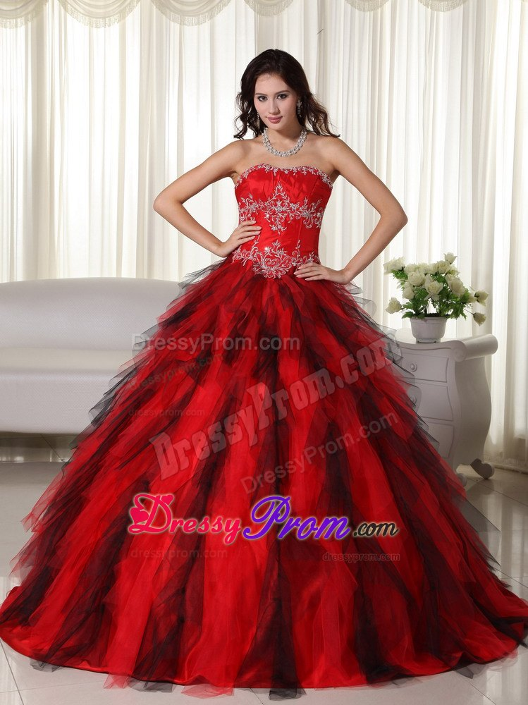 Strapless Floor-length Red Ball Gown Taffeta Appliques Quinceanera Dress