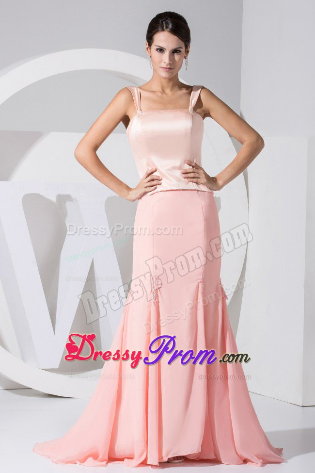 Wide Straps Light Pink Mermaid Taffeta Chiffon Brush Prom Dress
