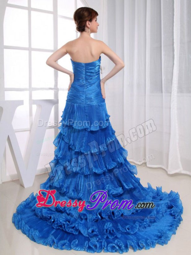 High low royal blue prom dresses 2013