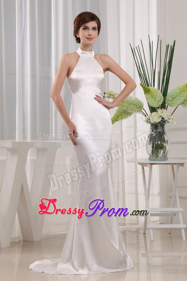 White Halter Mermaid Prom Gown Dress with High Neck In Alaska