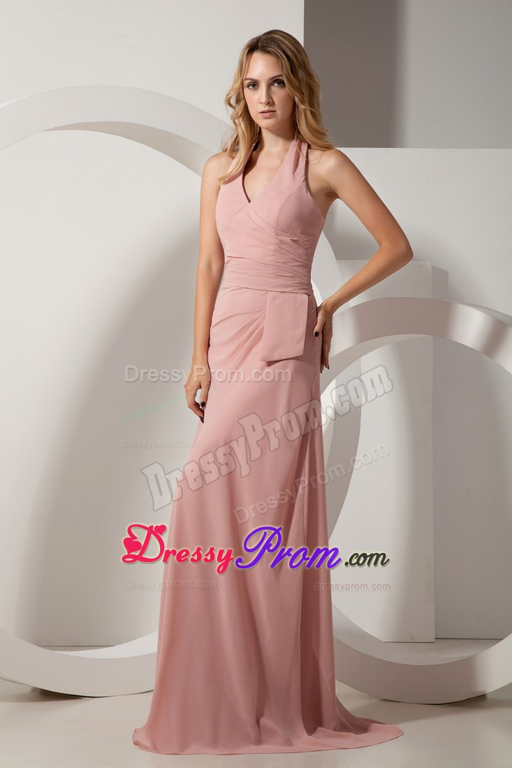 New Ruches Halter Brush Train Prom formal Dress in Light Pink