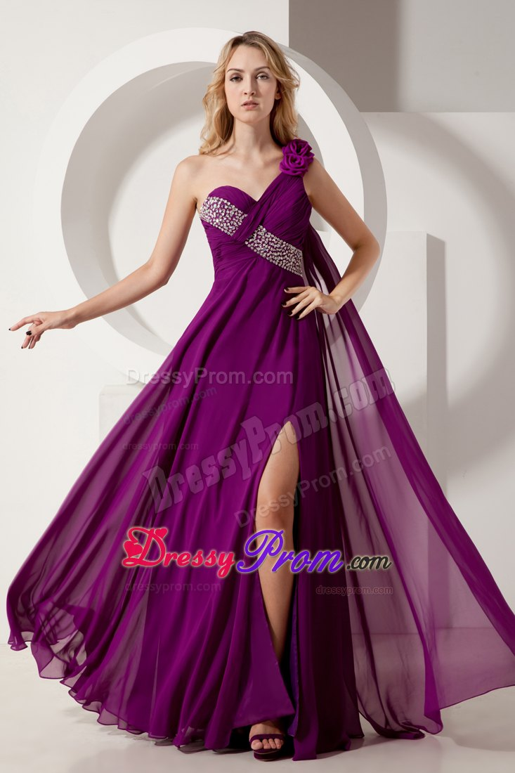 Flowery One Shoulder Beading Prom Formal Dresses In Dark Purple
